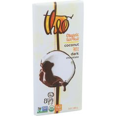 Organic fair trade. Enjoy. Non GMO project verified. USDA organic. Fair for life. Toasted coconut in smooth dark chocolate - sweetly tropical. Make Life Sweeter: This chocolate is so delicious because