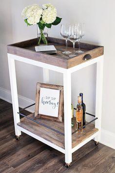 Bar Cart DIY Diy Bar Cart, Gold Bar Cart, Bar Cart Styling, Bar Cart Decor, Bar Cart Wood, Diy Bar Stools, Diy Furniture Projects, Bar Furniture, Unique Furniture
