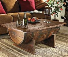 Handmade Vintage Oak Whiskey Barrel Coffee Table | DROOL'D