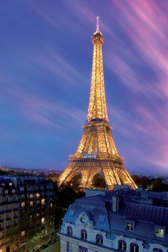 Eiffel Tower at dusk, Paris, France.