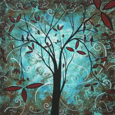 Turquoise Tree Art 'Romantic Evening' Whimsical Trees Modern Wall Decor Giclée on Metal, Contemporary Landscape Abstract Artwork (Duncanson)
