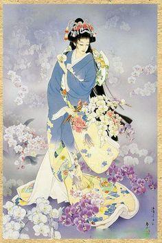 Geisha Painting - Kochouran by Haruyo Morita Japanese Painting, Chinese Painting, Chinese Art, Chinese Style, Art Geisha, Geisha Anime, Samurai, Asian Artwork, Art Chinois