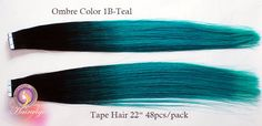Tape Hair  OMBRE COLOR:Gradient From Dark To Teal