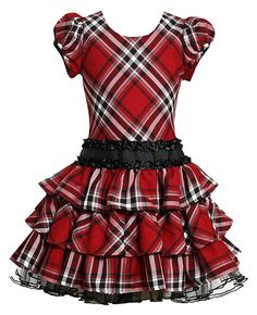 Timeless classic red and black plaid girls dress by Bonnie Jean - perfect for Christmas!