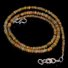 "34CRTS 2to4MM 18"" ETHIOPIAN OPAL RONDELLE BEAUTIFUL BEADS NECKLACE OBI1670 #OPALBEADSINDIA"