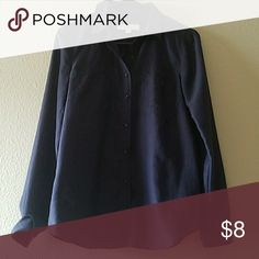 Button Down Navy button down, 100% polyester. Great basic to add to your closet Ann Taylor LOFT Tops Button Down Shirts