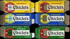 Chiclets 10-cent flavor coated gum - Peppermint, Pepsin, Spearmint - boxes - 1970's