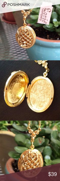 Vintage Locket! Vintage style locket that holds two photographs.  Very interesting chain on this.   Jewelry Necklaces