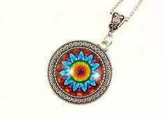 Mandala necklace  Flower mandala pendant  by LifelikeJewelryShop