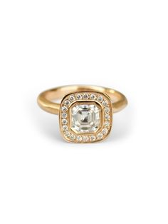 Baby HALO ~ Assher cut moissanite Moissanite Rings, Custom Jewelry, Class Ring, Halo, Crafting, Rose Gold, Jewellery, Diamond, Jewels