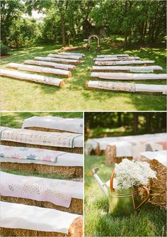 quilt covered hay bale ceremony seating ideas http://www.weddingchicks.com/2013/10/21/beauteous-backyard-wedding/