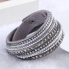 2015 Baru Kulit Gelang Berlian Imitasi Kristal Gelang Wrap Multilayer gelang untuk wanita pulseras Perhiasan mulher