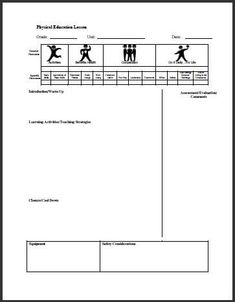 Pe Lesson Plan Template  Education    Pe Lesson Plans
