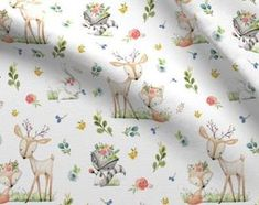 Check out our woodland nursery fabric selection for the very best in unique or custom, handmade pieces from our craft supplies & tools shops. Woodland Fabric, Woodland Baby, Woodland Nursery, Woodland Critters, Woodland Animals, Etsy Fabric, Nursery Fabric, Animal Quilts, Gorgeous Fabrics