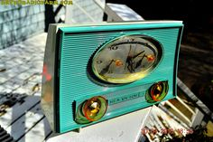 Turquoise-ish and Ivory-ish Retro Jetsons Vintage 1959 RCA Victor Model 1-RD-45 AM Tube Clock Radio Totally Restored! by RetroRadioFarm on Etsy
