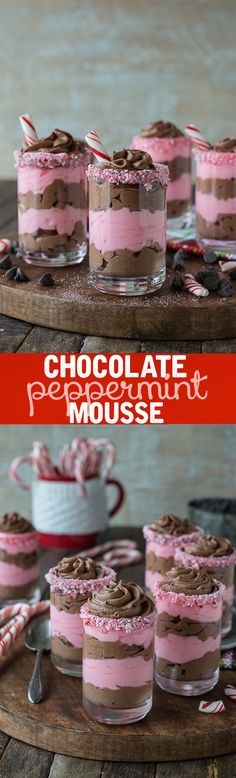 Layered chocolate peppermint mousse in dessert glasses! This is the best mousse and it's eggless!:
