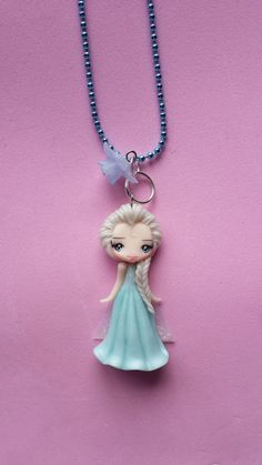 Necklace Elsa frozen in fimo polymer clay. by Artmary2 on Etsy