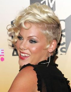 Pink Short Haircut Curly Hairstyles