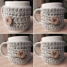 Coffee mug cozy crochet Mug Cozy, Coffee Mugs, Diy Crafts, Crochet, Tableware, Dinnerware, Coffee Cups, Make Your Own, Tablewares