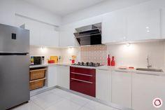 Best Home Design: Top 5 Livspace Homes of 2018 Kitchen Lighting Design, Design Your Kitchen, Interior Design Kitchen, Kitchen Modular, Modern Kitchen Cabinets, Red Kitchen, Modular Cabinets, Rustic Kitchen, Interior Modern
