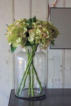 Large Glass Jar Vase & faux hydrangeas