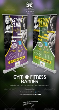 Fitness And Gym Banner ...  active, ad, advert, advertisement, aerobic, blue, brochure, buy, company, corporate, creative, dance, diet, dumbbell, exercise, fat, fit, green, gym, health, layout, muscle, pamphlet, poster, purple, sale, spa, yellow