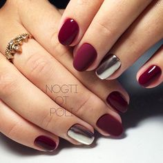 27 Dazzling Ideas For Maroon Nails Designs - Nail Art - Maroon Nail Designs, Nail Art Designs, Nails Design, Love Nails, Fun Nails, Nail Deco, Gelish Nails, Shellac, Burgundy Nails
