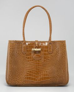 Roseau Crocodile-Embossed Tote Bag by Longchamp at Neiman Marcus.
