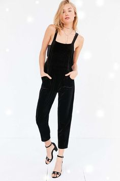 a5e80787ab9f7 Silence + Noise Stretch Velvet Overall Overalls Outfit