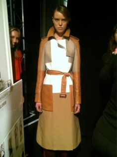 Leather patchwork trench by @Barbara Acosta Acosta Griffin MAX AZRIA