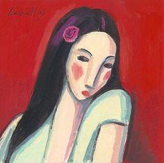 Guillermo Martí Ceballos.  Japonesa con fondo rojo (2008)