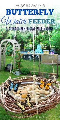 Attract beautiful butterflies and other essential polliators to your garden with this DIY grapevine wreath water feeder.