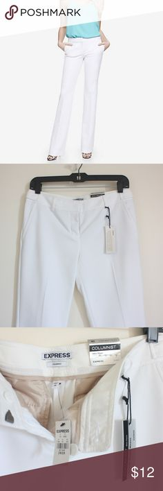 Express white columnist slim flare pants - size 2R Brand new. NWT. Hook closure. Extra buttons. There's random small dots on the pants. I haven't tried to get them dry cleaned but I'm sure they can come out after dry clean/wash. Size 2R. --- No pets, clean home. Accepting offers!! Express Pants Boot Cut & Flare