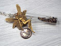 Steampunk Fairy Necklace, Faery Dust Necklace, Steampunk Jewelry, Pixie Necklace, Fantasy Jewelry, Glass Bottle Necklace, Faerie, Pixie $49 via @shopseen