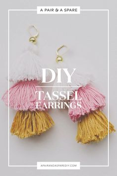 Cleaning Jewelry diy-tassel-earrings - For once I went with a project in mind, namely a pair of DIY tassel earrings, they're really easy to make. I hope you like! Diy Tassel Earrings, Tassel Earing, Tassel Jewelry, Beaded Earrings, Diy Hippie Earrings, Jewellery Box, Diy Earrings Easy, How To Make Earrings, Leather Earrings