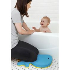 Save your knees and bathe baby in comfort with the Skip Hop Moby Bath Mat. It features non-slip backing and cushiony padding giving parents' achy knees a rest while baby enjoys tubtime!  www.rightstart.com $14.99