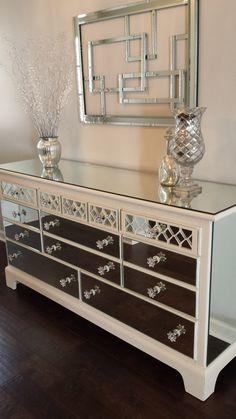 Mirrored Dresser Old White With Diamond Overlay Chic Mirror Dresser Annie Sloan Old White Chalk