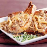 Mushroom soup and fresh mushrooms give earthy flavor to pork chops in this slow cooker recipe. Serve this hearty diabetic-friendly main dish during Thanksgiving and Christmas holidays/dcc