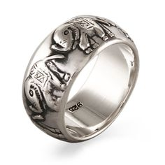 Parade of Elephants Sterling Silver Band | Eve's Addiction&#0174