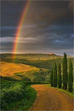 Rainbow over Val d'Orcia - Tuscany, Italy(   I think I am holding  to nothing but I  still believe in   Rainbows.)