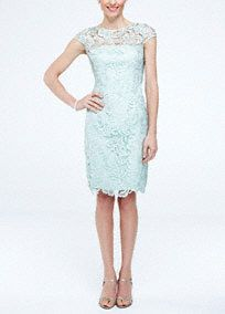 Ultra-feminine and delicate all over lace dress is the perfect ensemble for any special event! Cap sleeve bodice features eye-catching illusion neckline. Sheath silhouette with all over stunning lace detail finishes off the look. Fully lined. Back zip. Imported polyester. Dry clean only.A very short, often rounded sleeve that barely covers the top of the shoulder.A sheer net fabric commonly used on sleeves or necklines.A form fitting gown that contours to your natural silhouette.