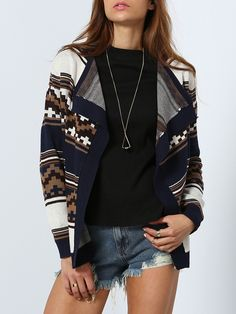 Shop Long Sleeve Geometric Print Cardigan at ROMWE, discover more fashion styles online.