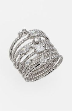 Ariella Collection Stack Rings (Set of 7) available at #Nordstrom. When worn invidually it is very dainty and affordable without looking cheap! I like it better in gold!