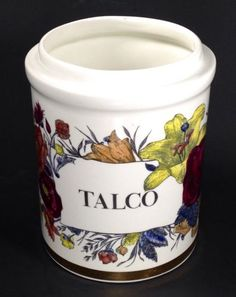 Piero-Fornasetti-Signed-Talco-Talcum-Jar-Canister-Vase-NO-LID-Flowers-Gold-Rim
