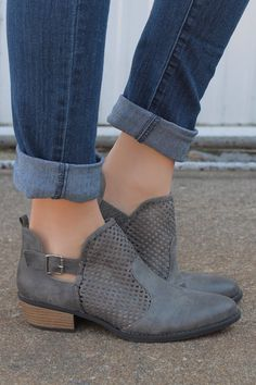 Grey Distressed Suede Perforated Detail Bootie Sochi-61 – UOIOnline.com: Women's Clothing Boutique