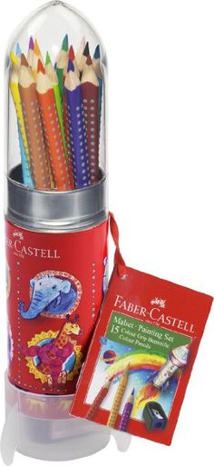 Faber-Castell 112457 - Malset Colour Grip Rakete, 15 Buntstifte