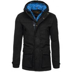 Pánské kabáty s kapucí černé barvy - manozo.cz Raincoat, Nike, Jackets, Fashion, Rain Jacket, Down Jackets, Moda, Fashion Styles