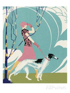 Woman Walking Borzoi Dog Prints by Pop Ink - CSA Images at AllPosters.com