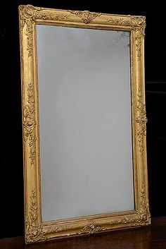 French Antique Empire Period Carved Giltwood Mirror. Old Mercury Glass.