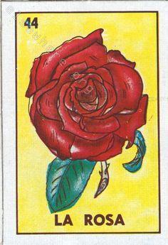 La Muerte Loteria | 44 - La Rosa | Cheap cardboard loteria | Loteria Collection ...